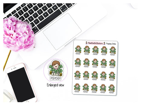 Pay Day Chibi Money Finance Character Sticker for , Plum Paper, Recollections, and similar planners