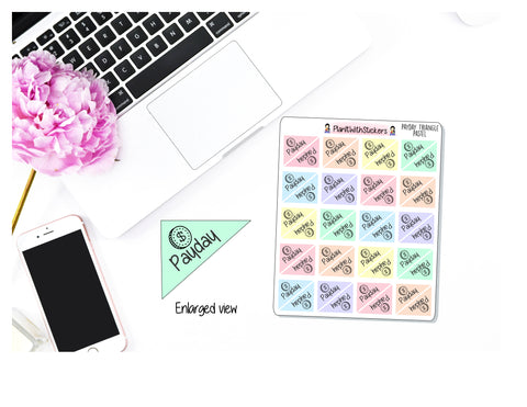 Payday Triangle Corner Stickers (Pastel) for Daily, Weekly, or Monthly Layout Use in , Plum Paper, Recollections, and similar planners