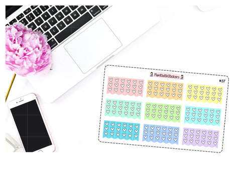 037 - Rainbow Pastel Mini Heart Checklist Stickers for , Plum Paper, Recollections, and similar planners