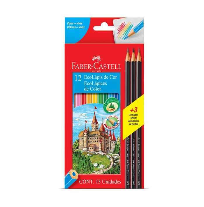 Ecolápices Escolares Hex (12 Colores+3 Grafitos) Faber Castell