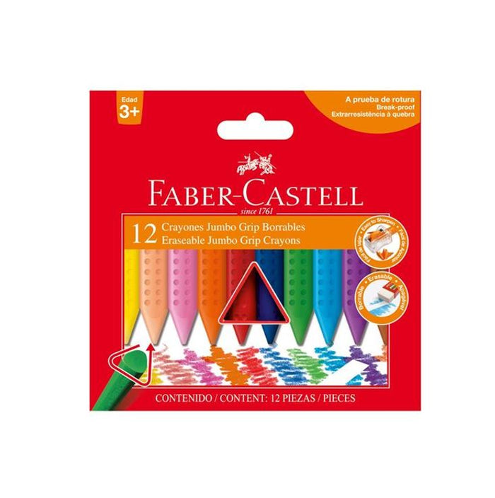 Crayones Grip Jumbo Borrable 12 Colores Faber Castell