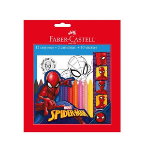 Crayones Grip Jumbo Borrable 12 Colores Faber Castell Spiderman