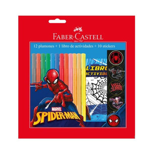 Marcador Escolar Spider Man (12 Colores + Libreta+ Stickers)