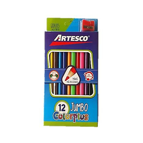 Colores largos Color Plus Jumbo X12 C/Tajador Artesco