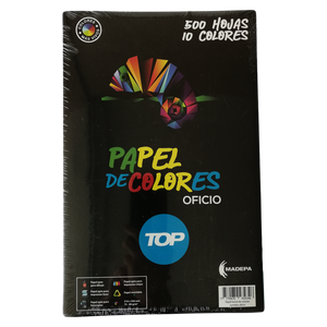 Papel Bond Colores Surtidos Oficio (215 X 330 mm) Oficio Top