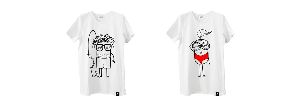 White Quipster Fin T-Shirt and White Maliboo T-Shirt