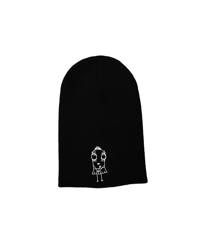 Quipster Character Princess on black unisex Beanie