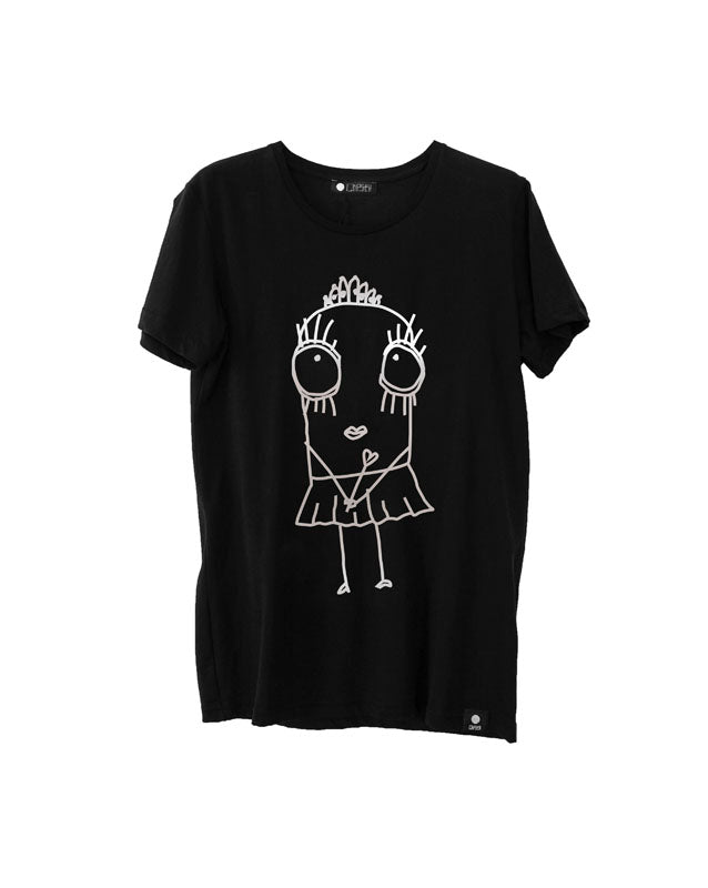 Quipster Character Princess on black Metallic Print unisex T-Shirt