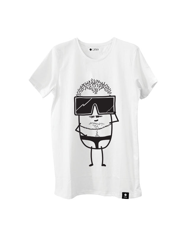Quipster Character Burty on white unisex T-Shirt