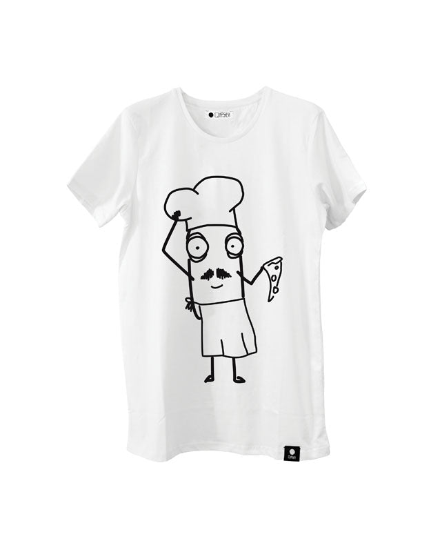 Quipster Character Pizza Chef Mario on white unisex T-Shirt