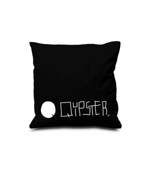 Quipster Character Princess on black Pillow Case back Logo