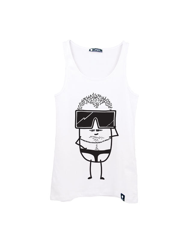 Quipster Character Burty on white unisex Tank Top