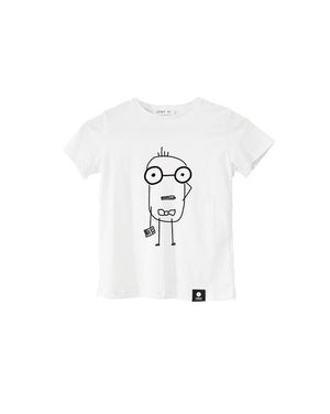 Quipster Character Nerd on white unisex Kids T-Shirt