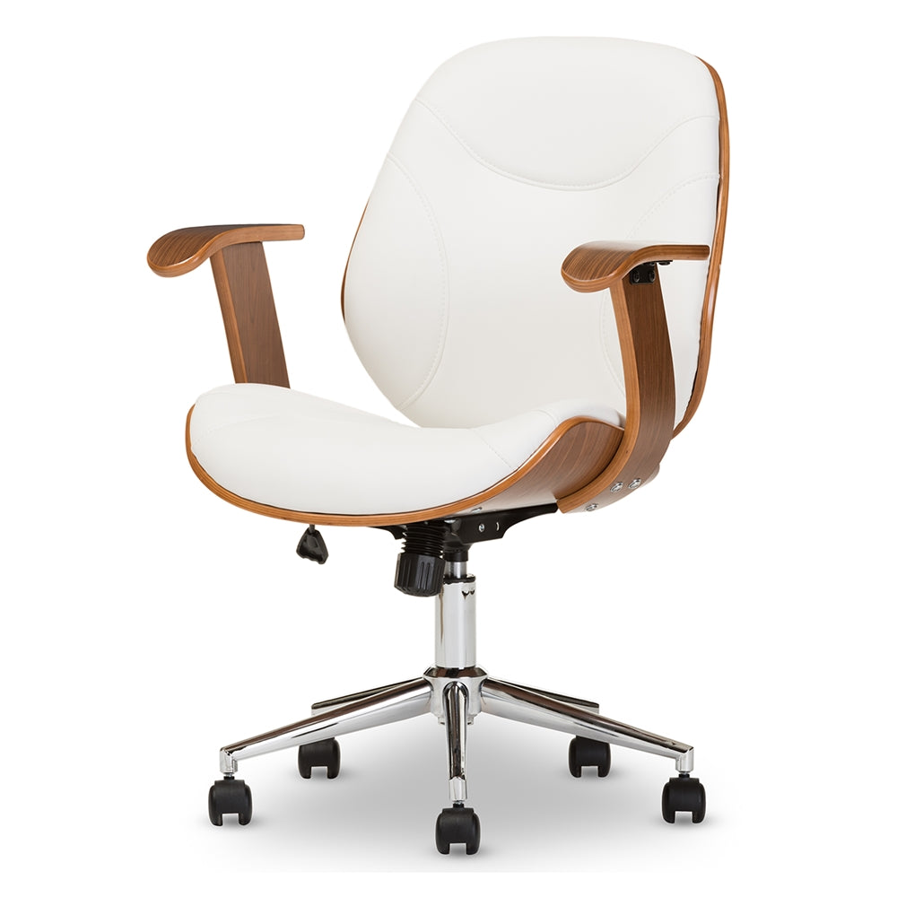 Baxton Studio Rathburn Modern and Contemporary White and Walnut Office Chair