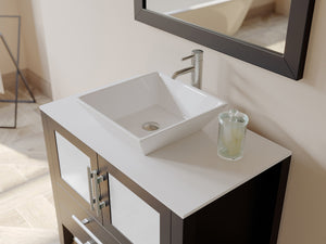 Complete 36 inch  Solid Wood  Vanity Set with Brushed Nickel Plumbing
