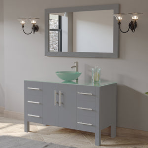 "Complete 48""  Gray Vanity Set with Brushed Nickel Plumbing"
