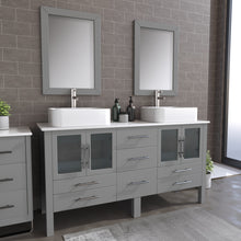 "Load image into Gallery viewer, Complete 63"" Gray Vanity Set with Brushed Nickel Plumbing"