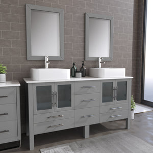 "Complete 63"" Gray Vanity Set with Polished Chrome Pluming"