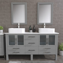 "Load image into Gallery viewer, Complete 63"" Gray Vanity Set with Polished Chrome Pluming"
