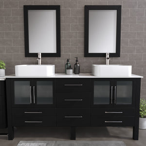 "Complete 72"" Vanity Set with Brushed Nickel Plumbing"