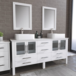 "Complete 72"" White Vanity Set with Brushed Nickel Plumbing"