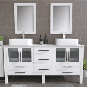 "Complete 72"" White Vanity Set with Polished Chrome Plumbing"