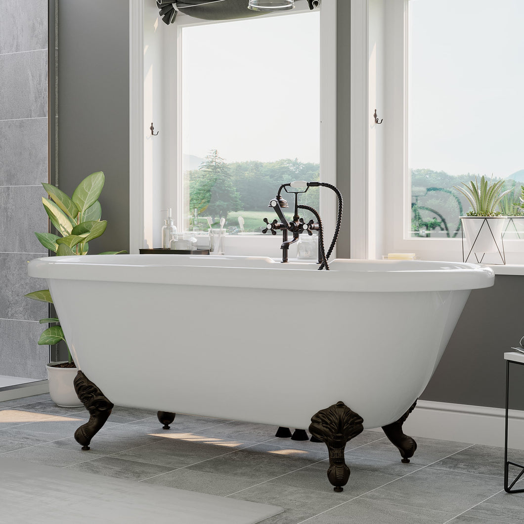 Acrylic Double Ended Clawfoot Soaking Tub and Complete Oil Rubbed Bronze Plumbing Package