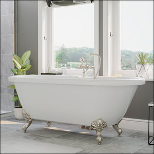 Acrylic Double Ended Clawfoot Bathtub Faucet Drillings and Brushed Nickel Feet