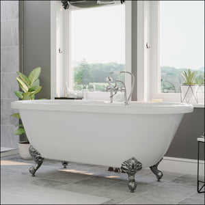 Acrylic Double Ended Clawfoot Bathtub Faucet Drillings and Polished Chrome Feet