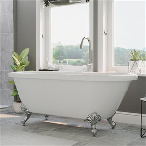 Acrylic Double Ended Clawfoot Bathtub with Contiuous Rim and Polished Chrome Feet