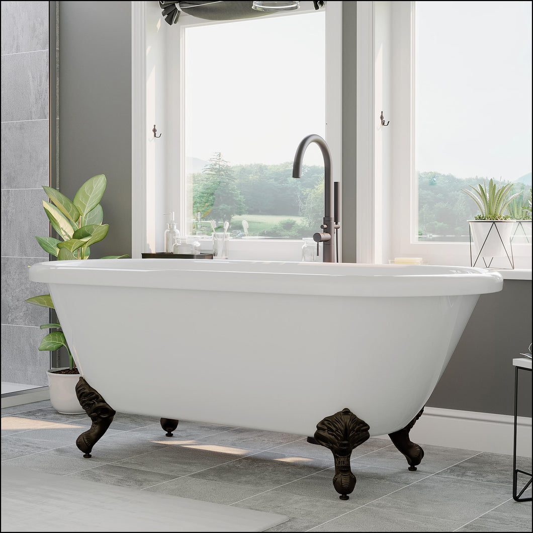 Acrylic Double Ended Clawfoot Bathtub with Contiuous Rim and Oil Rubbed Bronze Feet