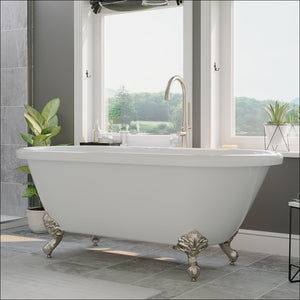 Acrylic Double Ended Clawfoot Bathtub With Continuous Rim and Complete Brushed Nickel Plumbing Package