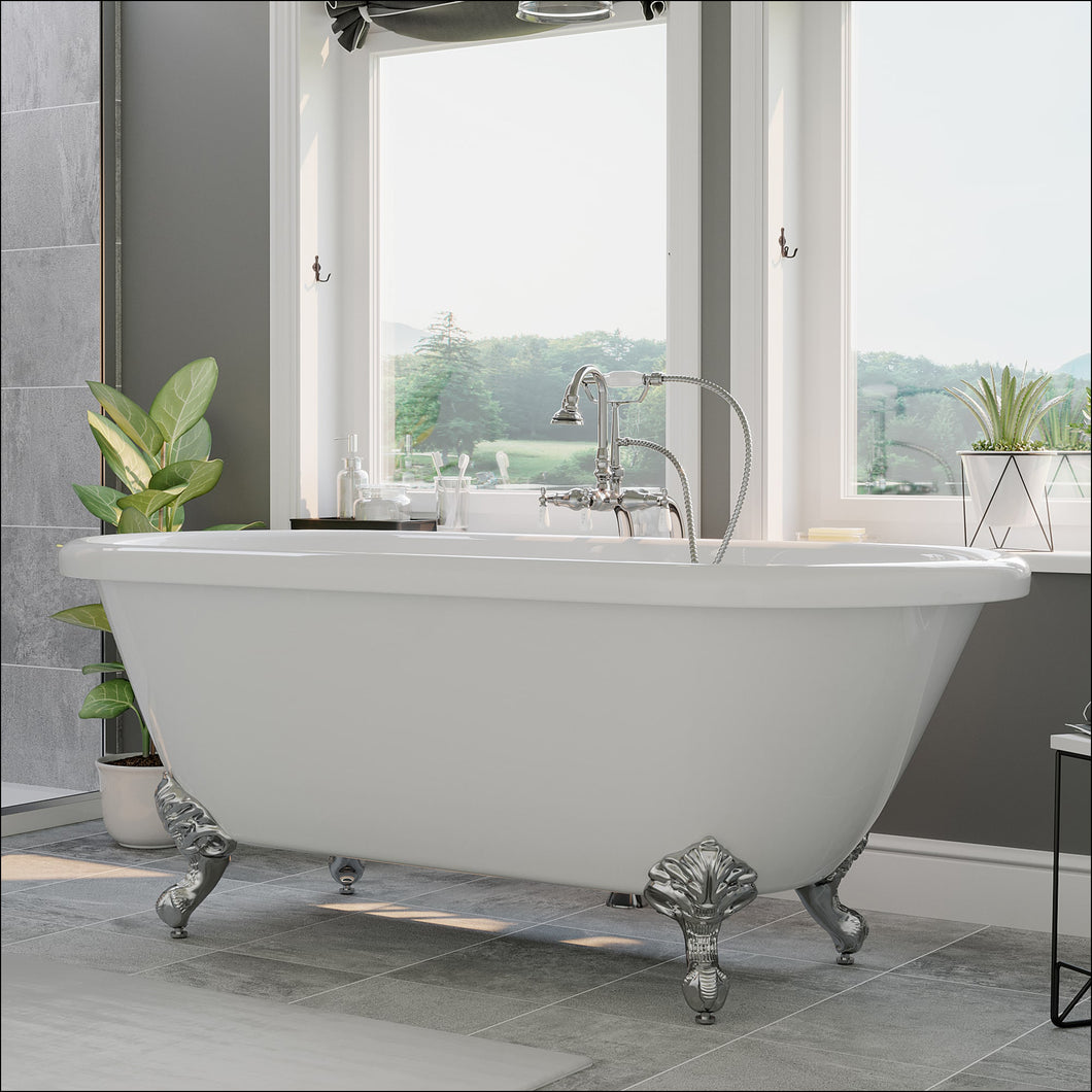 Acrylic Double Ended Clawfoot Bathtub With Continuous Rim and Complete Polished Chrome Plumbing Package