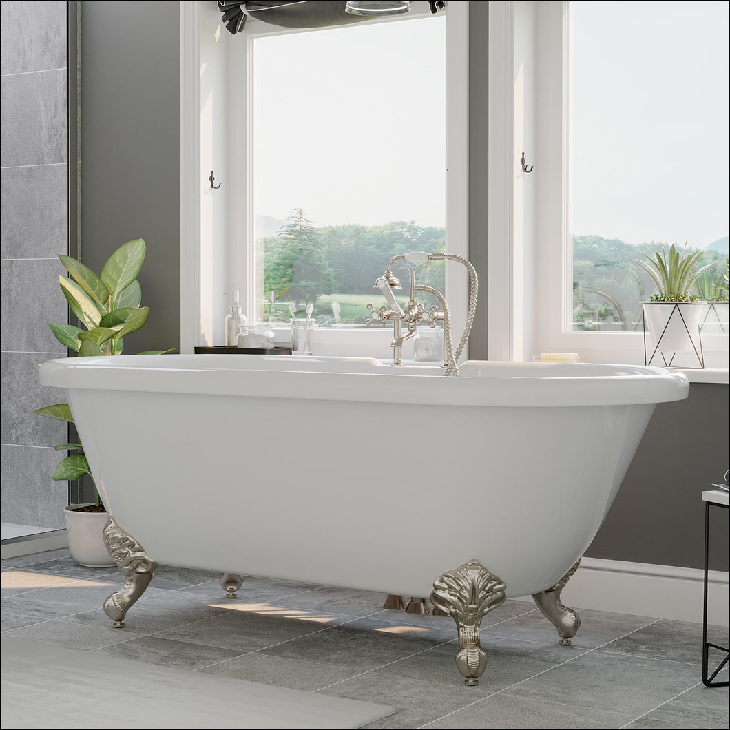 Acrylic Double Ended Clawfoot Bathtub Faucet Drillings and complete Brushed Nickel Plumbing Package