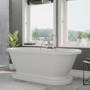 Acrylic Double Ended Pedestal Bathtub with Faucet Drillings and Complete Polished Chrome Plumbing Package