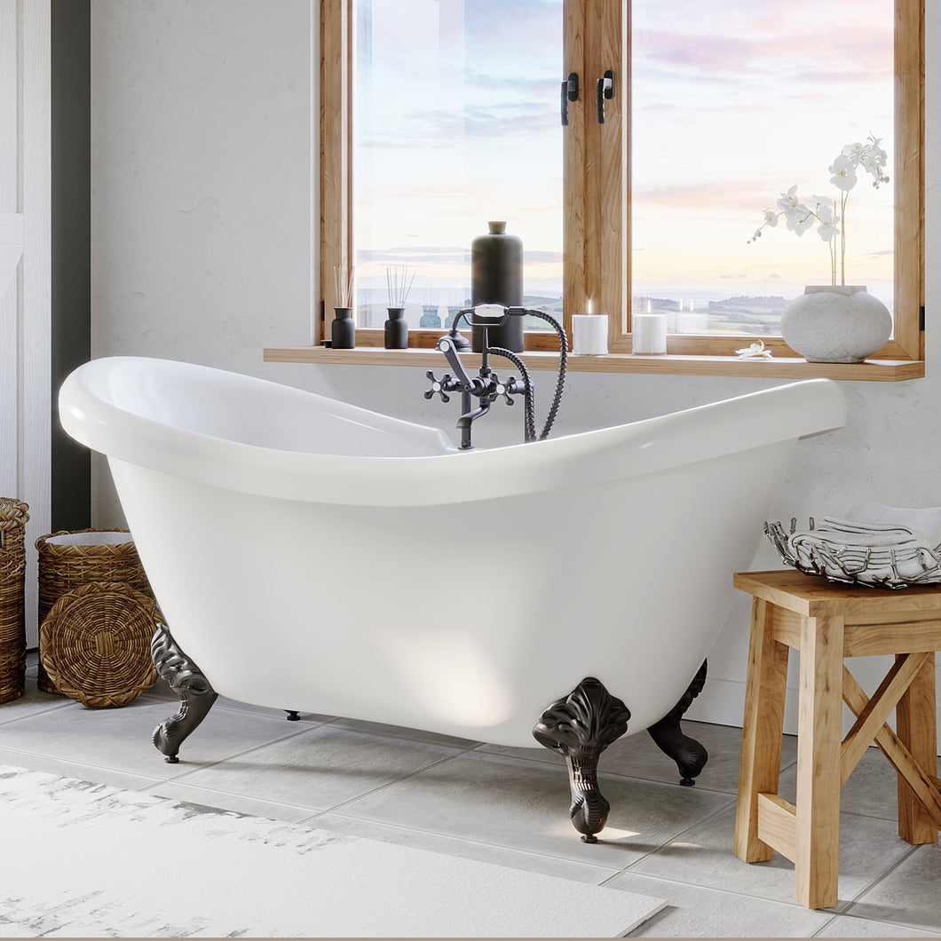 Acrylic Double Slipper Bathtub with Faucet Holes and Oil Rubbed Bronze Feet