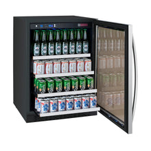 "Load image into Gallery viewer, Allavino FlexCount Series 24"" Wide Beverage Center - Black Cabinet with Stainless Steel Door - Right Hinge"