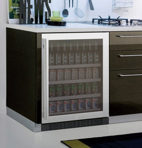 "Allavino FlexCount Series 24"" Wide Beverage Center - Black Cabinet with Stainless Steel Door - Left Hinge"