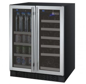"Allavino 24"" Wide FlexCount Series 18 Bottle/66 Cans Dual Zone Stainless Steel Wine Refrigerator/Beverage Center"