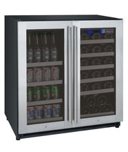 "Load image into Gallery viewer, Allavino 30"" Wide FlexCount Series 30 Bottle/88 Can Dual Zone Stainless Steel Built-In Wine Refrigerator/Beverage Center"