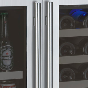 "Allavino 30"" Wide FlexCount Series 30 Bottle/88 Can Dual Zone Stainless Steel Built-In Wine Refrigerator/Beverage Center"