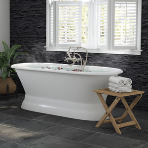 66 Inch Cast Iron Dual Ended Pedestal Bathtub with No Faucet drillings and Complete plumbing packge in Brushed Nickel