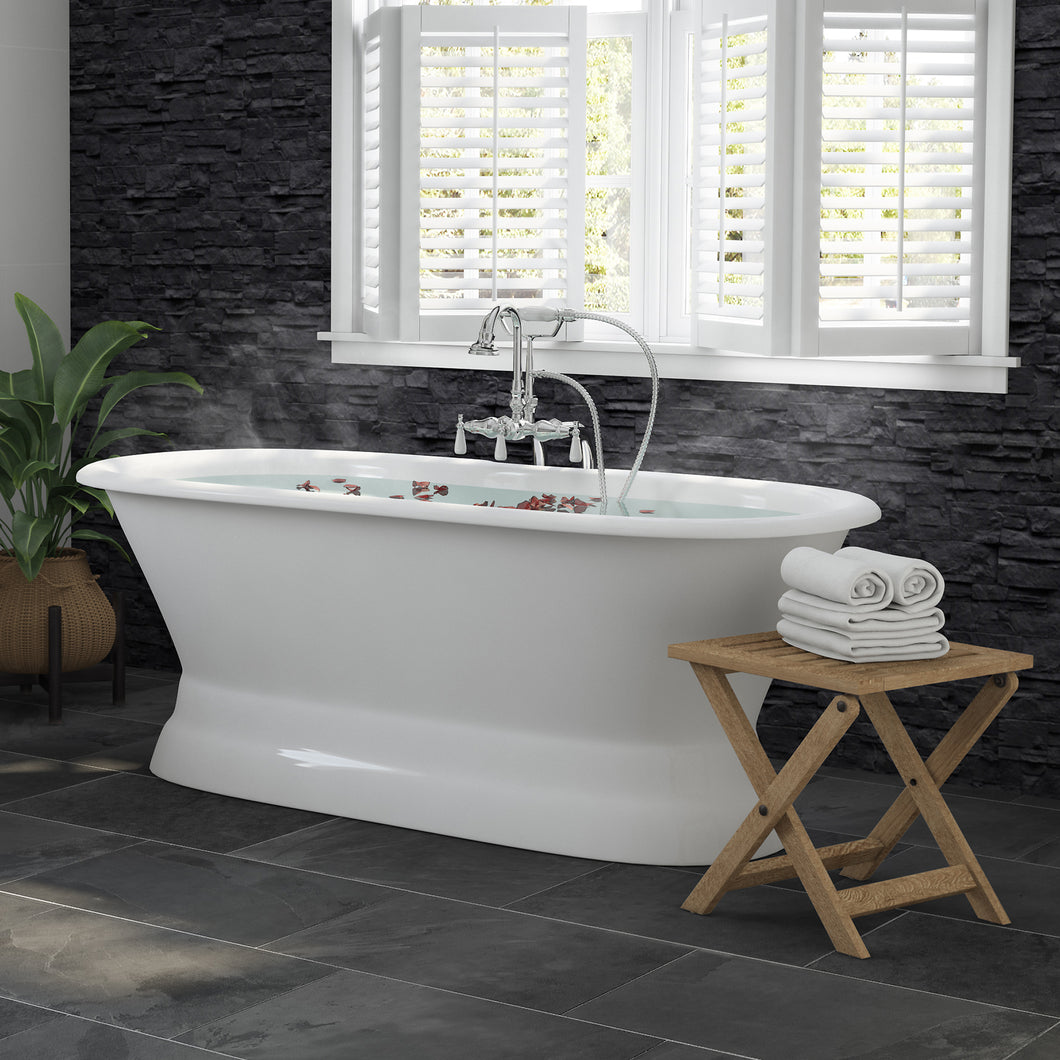 66 Inch Cast Iron Dual Ended Pedestal Bathtub with No Faucet drillings and Complete plumbing packge in Polished Chrome