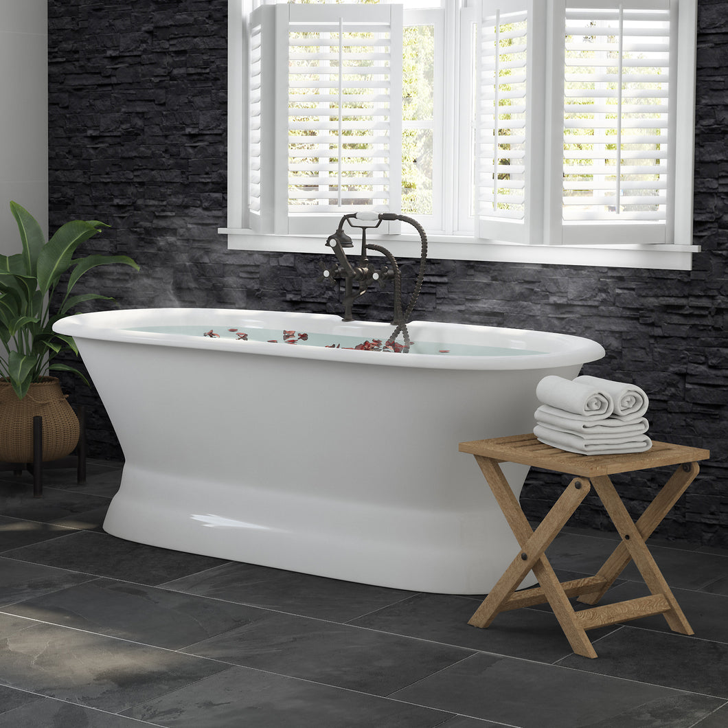 66 Inch Cast Iron Dual Ended Pedestal Bathtub with Deckmount faucet drillings Complete plumbing package in Oil Rubbed Bronze