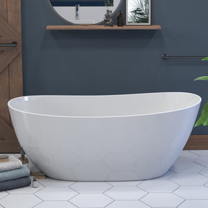 62  Inch Engineered Stone Freestanding Double Slipper Soaking Tub