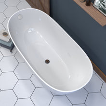 Load image into Gallery viewer, 62  Inch Engineered Stone Freestanding Double Slipper Soaking Tub