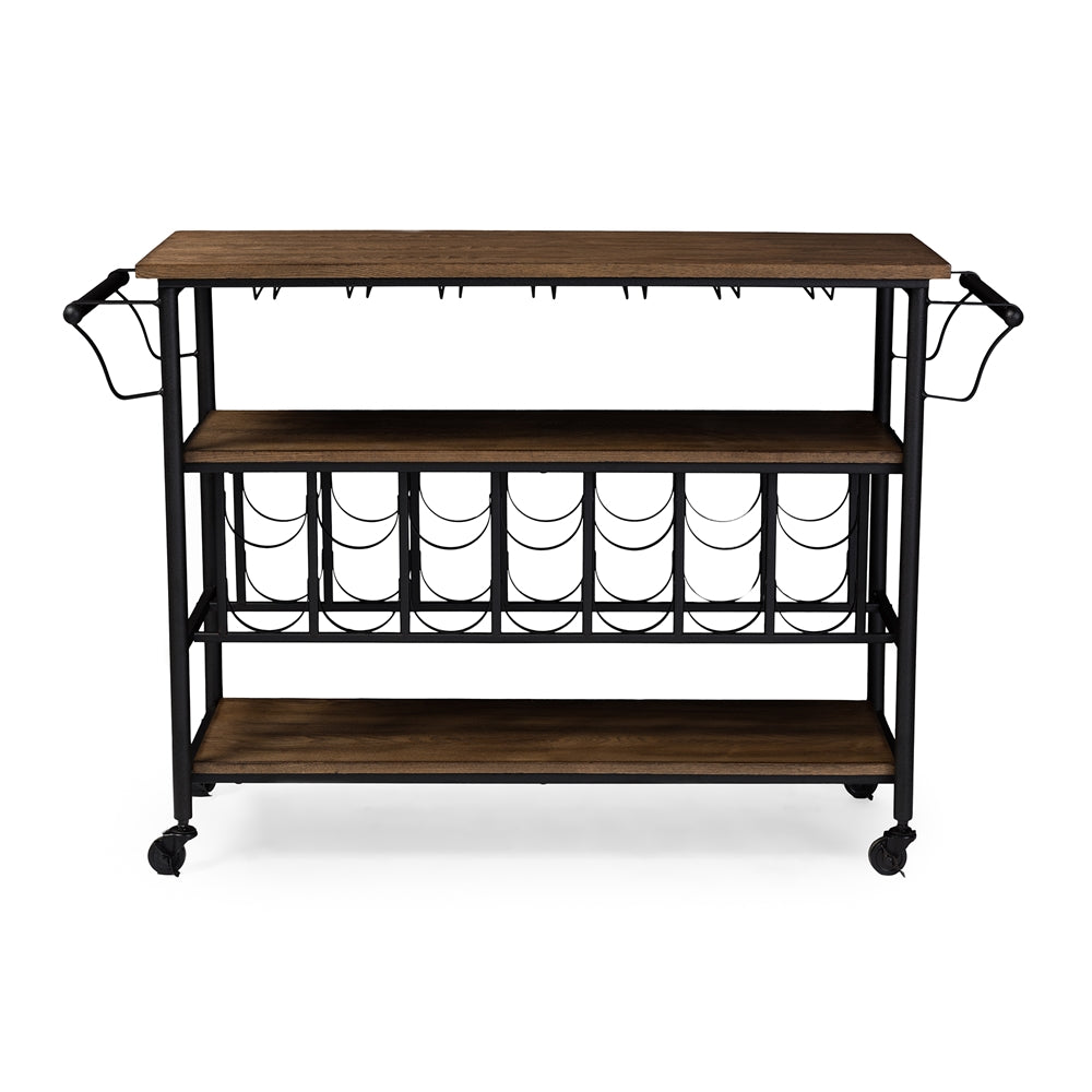 Baxton Studio Bradford Rustic Industrial Style Antique Black Textured Finish Metal Distressed Wood Mobile Kitchen Bar Serving Wine Cart