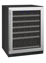 "Load image into Gallery viewer, Allavino 24"" Wide FlexCount Series 56 Bottle Single Zone Stainless Steel Right Hinge Wine Refrigerator"