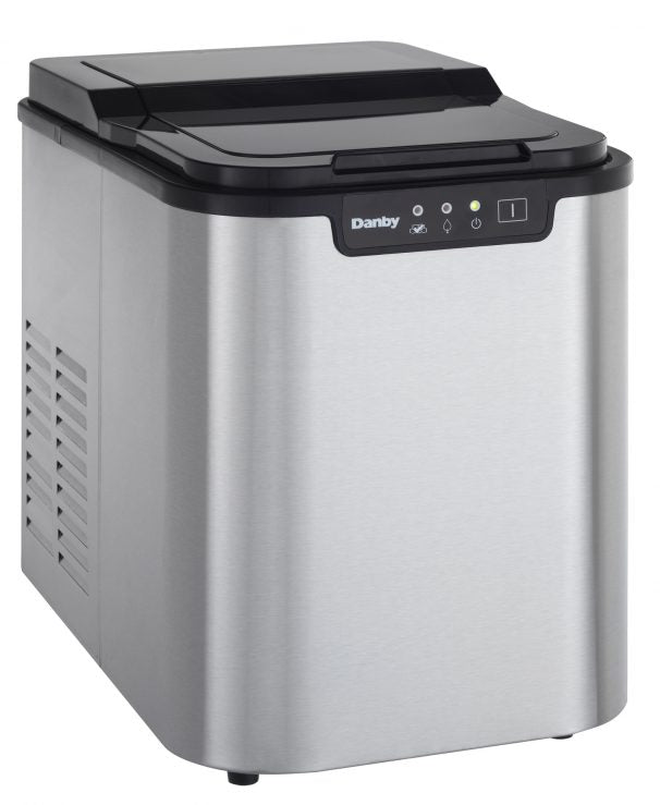 Danby 25 lbs Ice Maker  Black with Stainless Steel White