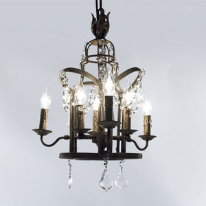 Zentique Corette Hanging Chandelier Light with Draped Crystals LI-05-144S